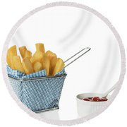 Chips With Tomato Sauce Round Beach Towel