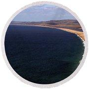 Round Beach Towel featuring the photograph Chesill Beach Dorset by Baggieoldboy