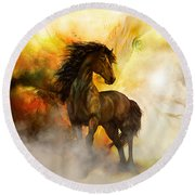 Chitto Black Spirit Horse Round Beach Towel