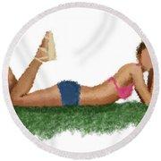 Round Beach Towel featuring the digital art Chloe by Nancy Levan