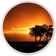 Round Beach Towel featuring the photograph Chobe River Sunset by Betty-Anne McDonald