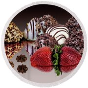 Round Beach Towel featuring the photograph Chocolate And Strawberries by Shirley Mangini