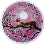 Chocolate Burmese Cat In Dancing Leaves Round Beach Towel by Laura Iverson