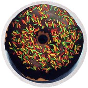 Chocolate Donut And Sprinkles Large Painting Round Beach Towel