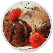 Round Beach Towel featuring the photograph Chocolate Explosion by Darren Fisher