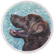 Chocolate Labrador Retriever Round Beach Towel
