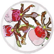 Chocolate Orchids Round Beach Towel