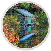 Chocorua Boathouse Round Beach Towel