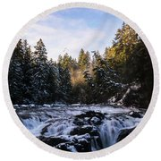 Round Beach Towel featuring the painting The Choice - Landscape Art by Jordan Blackstone