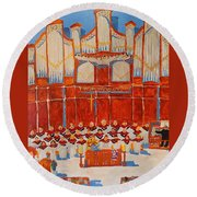 Choir And Organ Round Beach Towel by Rodger Ellingson