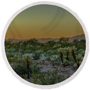 Cholla Desert Sunset Round Beach Towel