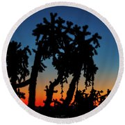 Round Beach Towel featuring the photograph Cholla Silhouettes by Rick Furmanek