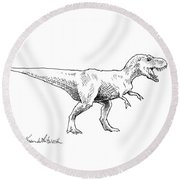 Tyrannosaurus Rex Dinosaur T-rex Ink Drawing Illustration Round Beach Towel
