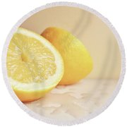 Round Beach Towel featuring the photograph Chopped Lemon by Lyn Randle