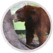 Round Beach Towel featuring the painting Chomper by Judy Kay