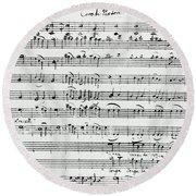 Chorus Of Shepherds, Handwritten Score Of The Opera Ascanio In Alba Round Beach Towel