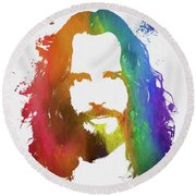 Chris Cornell Color Tribute Round Beach Towel