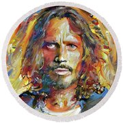 Chris Cornell Tribute 2017 Portrait Round Beach Towel