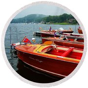 Chris Craft And Garwood Boats In Harbor Round Beach Towel