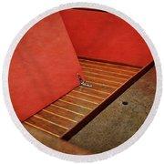 Chris Craft Interior With Red Round Beach Towel