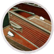 Chris Craft With Hatch And Steering Wheel Round Beach Towel