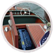 Chris Craft With Open Hatch And Motor Round Beach Towel