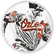 Chris Davis Baltimore Orioles Pixel Art Round Beach Towel by Joe Hamilton