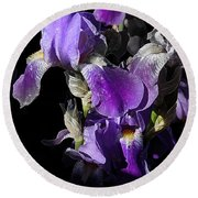 Chris' Garden - Purple Iris 1 Round Beach Towel by Stuart Turnbull