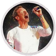 Chris Martin - Coldplay Round Beach Towel by Semih Yurdabak