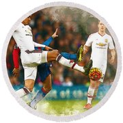 Chris Smalling  In Action  Round Beach Towel by Don Kuing