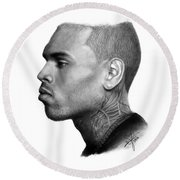 Chris Brown Drawing By Sofia Furniel Round Beach Towel