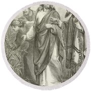Christ And His Disciples In The Cornfields Round Beach Towel