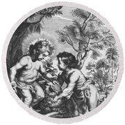 Christ And John The Baptist  Behold The Lamb Of God Round Beach Towel