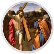 Christ Appearing To St. Peter On The Appian Way Round Beach Towel
