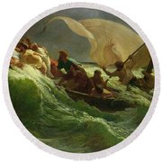 Christ Asleep In His Boat  Round Beach Towel