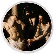 Christ At The Column Round Beach Towel