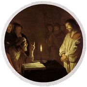 Christ Before The High Priest Round Beach Towel