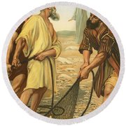 Christ Calling The Disciples Round Beach Towel