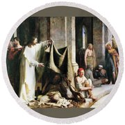 Christ Christ And The Man At The Healing Wel Round Beach Towel