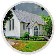 Round Beach Towel featuring the photograph Christ Church by Rod Wiens