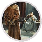 Christ In Front Of Pontius Pilate Round Beach Towel