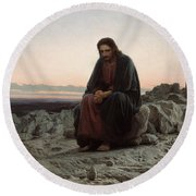 Round Beach Towel featuring the painting Christ In The Desert by Ivan Kramskoi