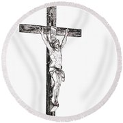 Christ On Cross Round Beach Towel