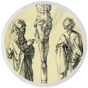 Christ On The Cross With Mary And John The Baptist Round Beach Towel