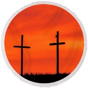 Round Beach Towel featuring the photograph Christ Pilot Me Hill -03 by Rob Graham