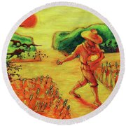Round Beach Towel featuring the painting Christian Art Parable Of The Sower Artwork T Bertram Poole by Thomas Bertram POOLE