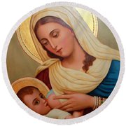 Christianity - Baby Jesus Round Beach Towel by Munir Alawi