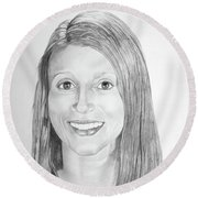 Round Beach Towel featuring the drawing Christina by Mayhem Mediums