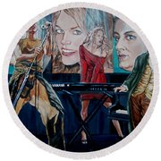 Round Beach Towel featuring the painting Christine Anderson Concert Fantasy by Bryan Bustard