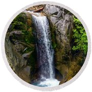 Christine Falls Mt Rainier Round Beach Towel